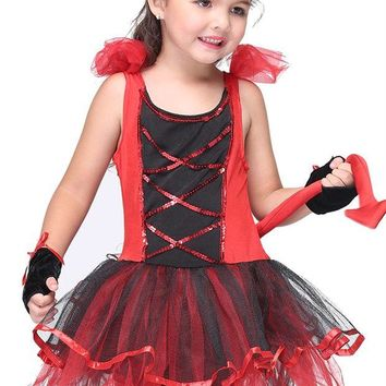 VONE05O Red Dress with Tiara Tail Cat Girls Toddler Costume Halloween Cosplay Christmas Baby Children Clothing Kids Clothes
