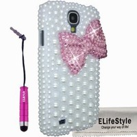 New 3D Bling Bowknot Bow Decorate full Pearls Rhinestone Case Cover Hard White for Samsung Galaxy S4 S IV i9500 (Colour: Black, Red,Hot Pink ,Pink, Purple, Turquoise) (Pink) (View amazon detail page)