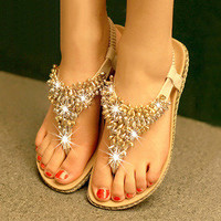 shopping2013 — Simple fashion color matching diamond beads flat sandals
