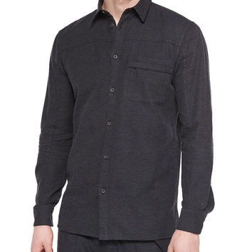 Front Yoke Button-Down Flannel Shirt, Dark Gray, Size: