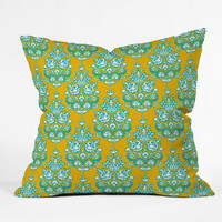 Sharon Turner Yasmita damask ikat Outdoor Throw Pillow