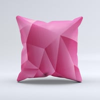 Pink Geometric Pattern Ink-Fuzed Decorative Throw Pillow