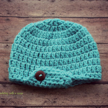 Crocheted Blue Beanie - With Flap - Brown Button - 0-3 Months