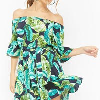 Palm Leaf Print Off-the-Shoulder Dress