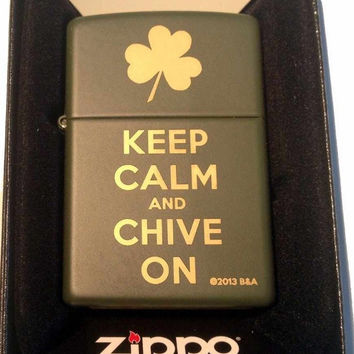 Zippo Custom Lighter - Keep Calm and Chive on Laser Engraved Green Matte Finish Rare! 221MP325047