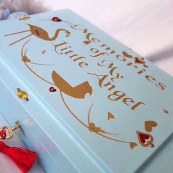 FREE P0ST. My ANGEL. Wooden lockable box for those special things that define your little Angel. Blue & Gold with brass. Memory Box.