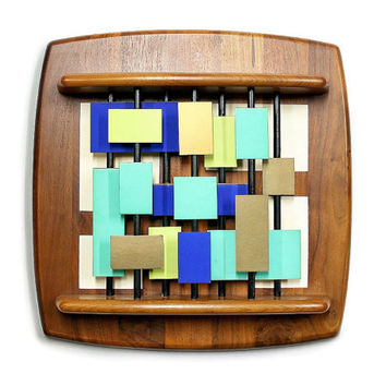 Mid Century Modern Wall Hanging, Mod Three Dimensional Artwork, Belart Co Mendota Minn, Retro Teal, Chartreuse, Blue, and Gold 1950s