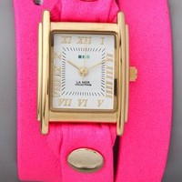 La Mer Collections Neon Simple Wrap Watch Pink Neon