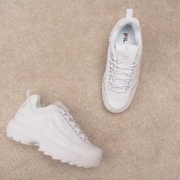 KUYOU F004 Fila Disruptor II Large serrated thick bottom increased leggings Joker running shoes White