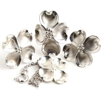 Vintage Sterling Silver Dogwood Jewelry Set - Stuart Nye Ring, Earrings, and Necklace Collectible Jewelry / Mid Century Flowers