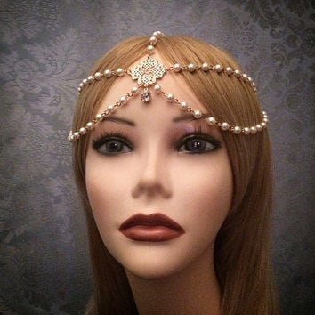 1920's Style Gold Grecian Goddess Headchain 1920s head chain headdress headpiece piece 20's headband chain pearl gypsy gatsby 20s jazz era