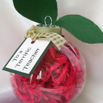 Teacher Christmas ornament, Red teacher ornament, Teacher gift, Red apple ornament, Xmas tree ornament, Acrylic, to a Terrific Teacher