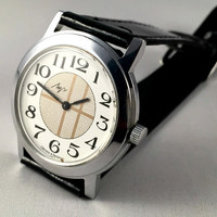 "Vintage Men's ""RAY"" (LUCH) wristwatch. Unusual dial, round face, Soviet watch. Gift for him"