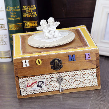 Box Wooden Home Gifts Creative Lock Accessory Box [6282794182]