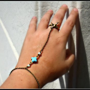 slave bracelet with bird ring by alapopjewelry