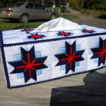 Plastic Canvas Tissue Box Cover in Star Design for Standard Size Box