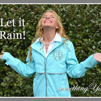 Aqua Blue Monogrammed Rain Coat Jacket - Elegant Monogrammed Personalized Customized Initials Embroidered Aqua Turquoise Tiffany Blue