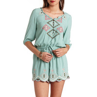 BEADED & EMBROIDERED BUTTON-UP ROMPER
