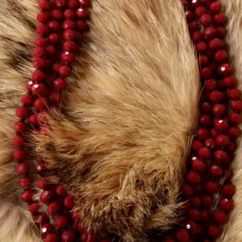 Maroon Red Beaded Necklace
