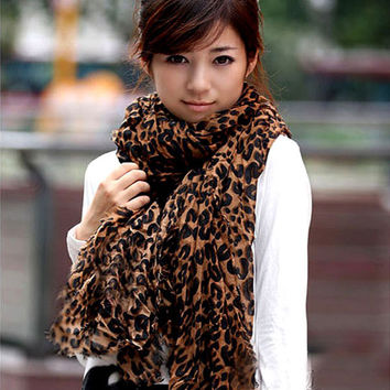 Ladies Long Large Scarves Georgette Gauz Wrap Scarf Shawl Sexy Leopard Fashion scarf