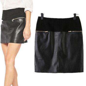 PEAPX2 Mosaic PU Leather Zippers Summer Skirt = 5840267521