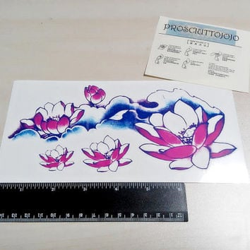 temporary tattoo large lotus flowers colorful big tattoo arm leg