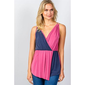 Ladies fashion raspberry & navy pink color-block v-neck crossover top.