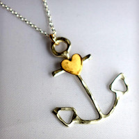 Anchor Necklace with Heart