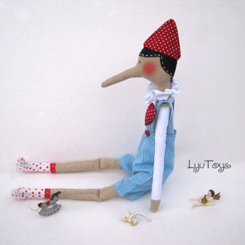 Pinocchio - gift for girls and boys,Tilda,Doll, Handmade,Gift for birthday,Christmas Gifts,Art doll,Shabby chic,home decore,blue, red