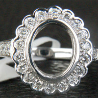 7.5x9.5mm Oval Cut Solid 14K White Gold Bezel .45ct Diamond Semi Mount Halo Ring