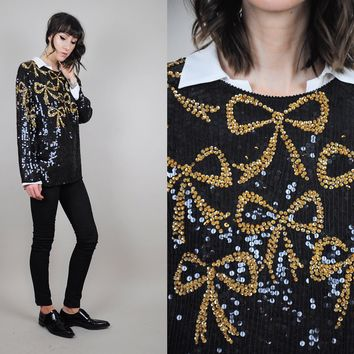 Silk Sequined Gold Bow Blouse