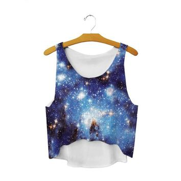 Running Vests Jogging Blue Galaxy Short Tank Tops Starry Sky Stars Beach s Loose Sleeveless Basic Blousas Femme Sexy Camisole Cropped Vest KO_11_1