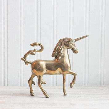 Brass Unicorn, Vintage Unicorn, Brass Animal, Mythical Creature, Unicorn Figurine, Unicorn Statue, Fantasy, Teen Girls Room, Neutral, Horse