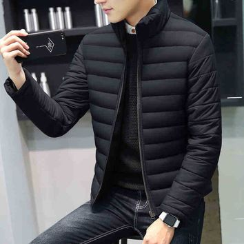 Men Solid Color Warm Waterproof Windproof Coat Down Coat BA0913