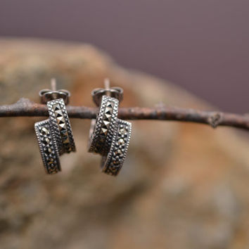 Double Hoop Thick Marcasite and Sterling Silver Earrings