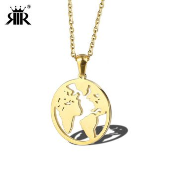 RIR World Map Necklace Globe Earth Continent Pendant Necklaces Simple Minimalist Travel Map Globetrotter Jewelry Gap Year Gifts