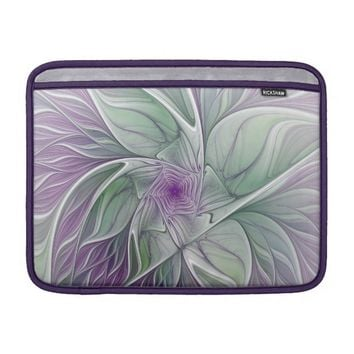 Flower Dream, Abstract Purple Green Fractal Art MacBook Air Sleeve