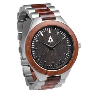 Stainless Steel Wood Watch // Silver Jasper