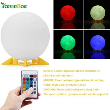 Lemonbest 3D RGB Print LED Moon Light Magical Night Light Desk Lamp USB Rechargeable for Home/Partybulb