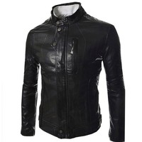 Partiss Mens Stand Collar Fuax Leather Stud Jackets