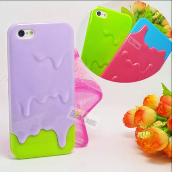 Hot!3D Melt Ice Cream Hard Back Cover Skin Cases For Apple iPhone 5 iPhone 5S Case For IPhone5S/5 5G Protection Phone Shell:*AAG