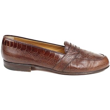 Gucci Ostrich Brown  Leather Loafers Mens US 9.5