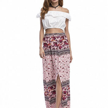 Pink Floral Print High Waist Split Maxi Skirt