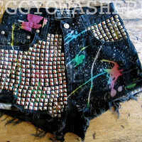 "VTG 1990's Versace cut off denim shorts ""Rainbow Galaxy"" massive studs"