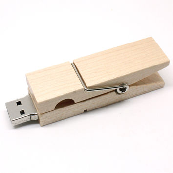 Wooden Clip Flash Memory