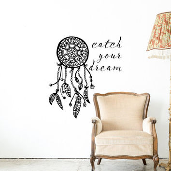 Dreamcatcher Wall Decal- Catch Your Dream Quote- Native America Dreamcatcher- Boho Dreamcatcher Bedroom Decor- Bohemian Nursery Decor 117