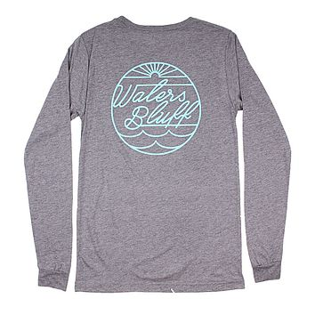 Script Seal Long Sleeve Tee in Grey Blend by Waters Bluff