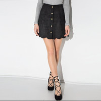 Black Button Asymmetrical Suede Skirt