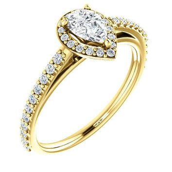0.50 Ct Pear Halo-style Diamond Engagement Ring 14k Yellow Gold