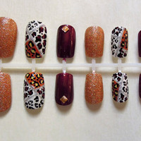 Gold Glitter, Cheetah Print, and Maroon with Gold Square Studded Fake Nail Set